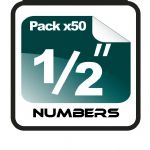 "1/2"" (half inch) Race Numbers - 50 pack"